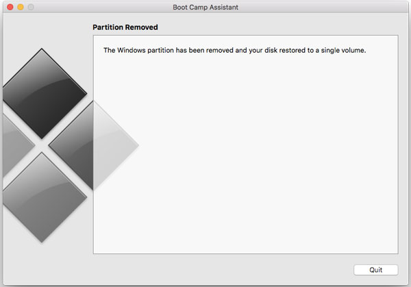 How to uninstall Windows from Boot Camp Assistant